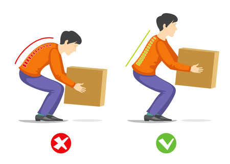 Correct and wrong technique to lift heavy object. Healthcare vector infographics. Manually to correct hard work with weight illustration