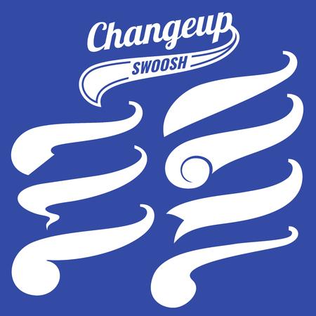 swash: Vintage swash baseball tails vector set.