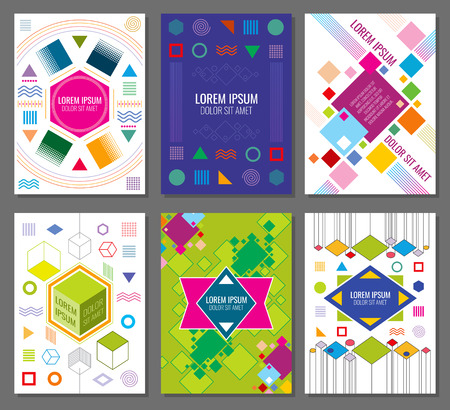 bauhaus: Abstract geometric vector banners, posters, flyers set in bauhaus design style. Hipster colored chaotic style illustration Illustration