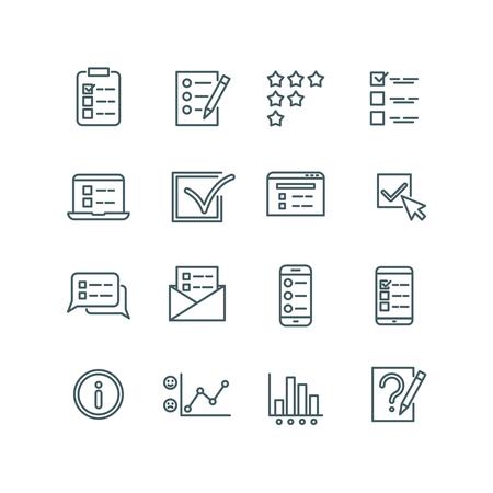 Online test, internet quiz, questionnaire, survey, exam, quizzes thin line vector icons. Linear checklist for feedback, stats list illustration Illustration