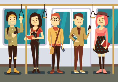 handrail: Man and woman with smartphone, gadgets and book in public transport vector illustration. Reading and use smartphone passenger