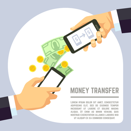 technology transaction: Sending and receiving money wireless with mobile phones and banking payment apps vector concept. Transaction use smartphone and electronic technology illustration