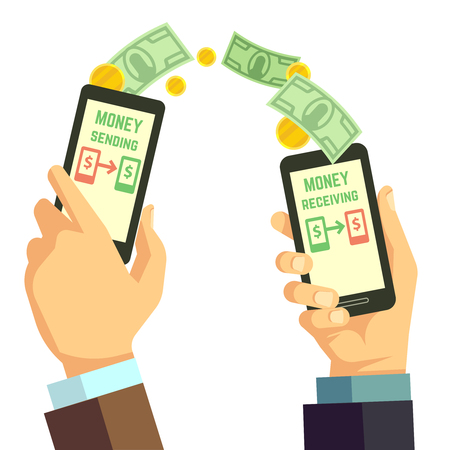 sending: Wireless sending money with smartphone vector banking concept. Receiving and sending processing cash illustration