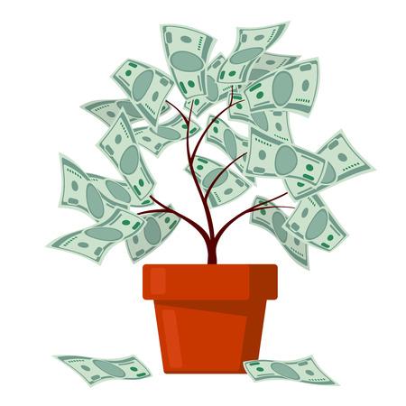 abundance: Money tree, business banking, abundance vector concept. Finance wealth and profit illustration
