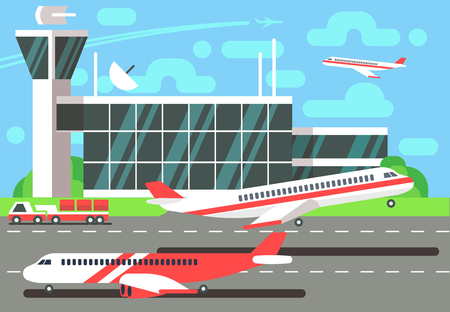 Airport flat vector illustration. Departure plane, travel and air trip