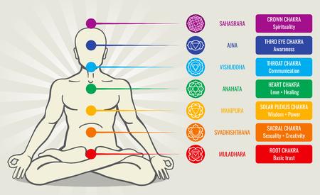 Czakra energii ludzkiej systemu, ajurveda miłości asana ilustracji wektorowych. Sahasrara i ajna, vishuddha i anahata