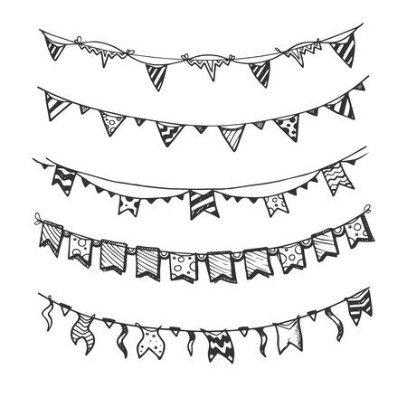 Holiday slingers met gloeilampen feestverlichting en vlaggen hand getrokken, schets vector set. Decoratie voor de verjaardag van de gebeurtenis illustratie Vector Illustratie