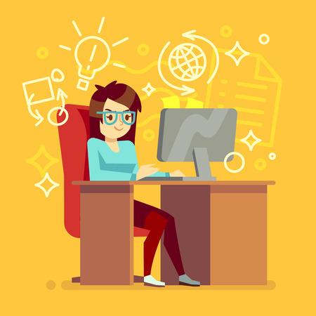 Creatief meisje werk op kantoor aan huis met de computer vector illustratie. Vrouw freelancer of secretaris karakter