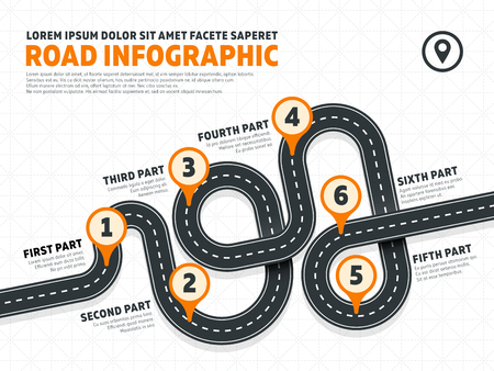 Street, road business marketing vector infographics template with pin signs. Business map banner for growth and development illustration Illustration