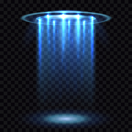 UFO light beam, aliens futuristic spacecraft isolated on transparent checkered background vector illustration. Saucer transport in dark