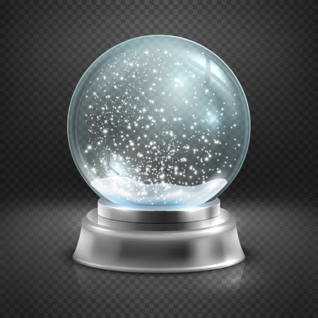 Christmas snow globe isolato su trasparente a scacchi illustrazione vettoriale. Inverno a sfera di vetro, cupola di cristallo con fiocco di neve Archivio Fotografico - 66411487