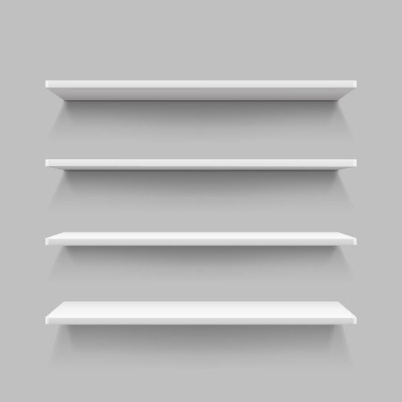 retail display: Empty white shop shelf, retail shelves from plywood frame, realistic bookshelf rectangle, 3d store wall display vector illustration