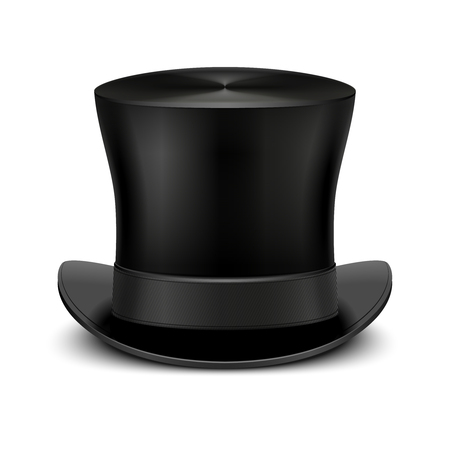 topper: Vintage black gentleman top hat isolated on white. Classic traditional topper accessory. Vector illustration Illustration