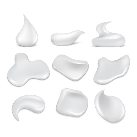 froth: White fresh cream strokes, mousse, foam, froth vector set. Foam skincare smooth and soft, clean lotion and gel illustration