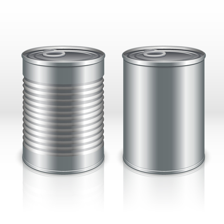 tincan: Blank metal products container, tin cans isolated on transparent checkered background. vector mockups. Steel bank product for food, tincan aluminum closed illustration