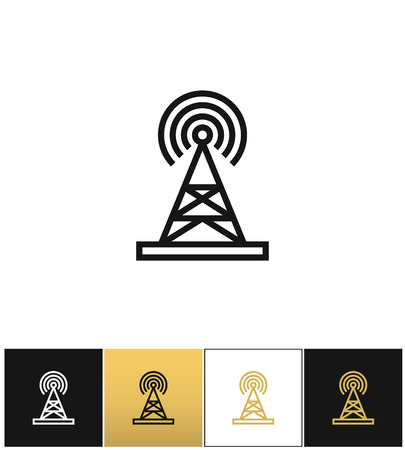 broadcasting: Broadcasting tower or broadcast station vector icon. Broadcasting tower or broadcast station pictograph on black, white and gold background Illustration