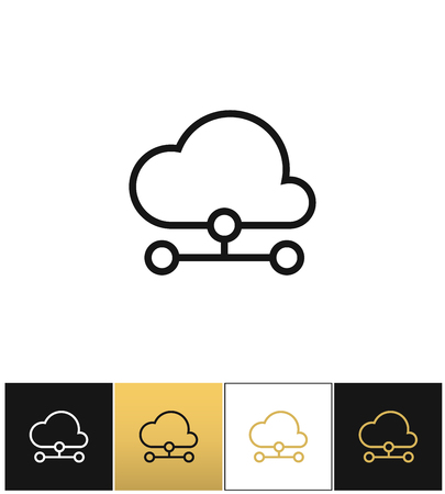 lcd panel: Cloud computer technology vector icon. Cloud computer technology pictograph on black, white and gold background