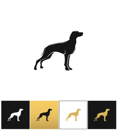 begging: Dog silhouette black vector icon. Dog silhouette black pictograph on black, white and gold background