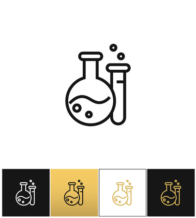 hip flask: Flask and beaker equipment lab vector icon. Flask and beaker equipment lab pictograph on black, white and gold background Illustration