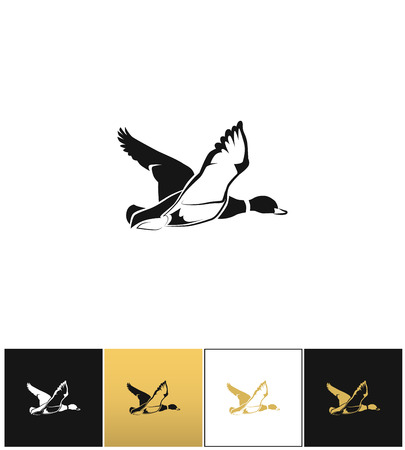 white: Flying duck silhouette or hunting target vector icon. Flying duck silhouette or hunting target pictograph on black, white and gold background