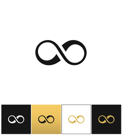 eternity: Infinity symbol or cycle eternity vector icon. Infinity symbol or cycle eternity pictograph on black, white and gold background