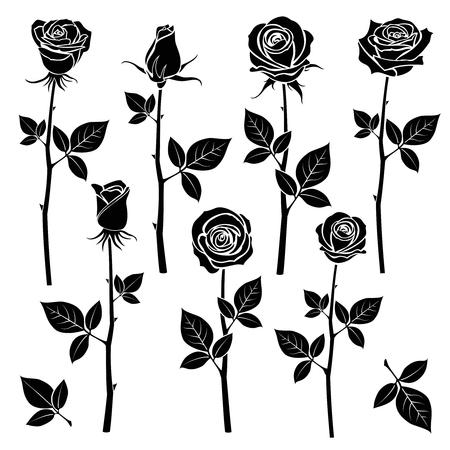 Rose silhouettes, spring buds vector symbols. Black rose with leaf, nature flower roses illustration