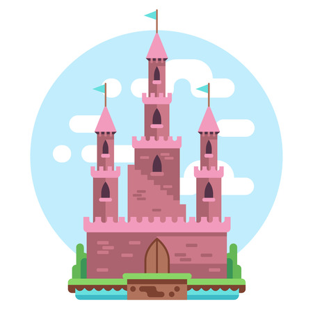 Cartoon fairy tale pink alcazar castle vector illustration. princess pink mysterious house with flags and gate. Medieval castle with tower, building architecture kingdom castle illustration