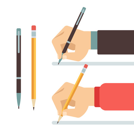 hand pen: Cartoon writing hands with pen and pencil flat vector illustration. Writing with pencil or pen. Hand hold pen and write Illustration