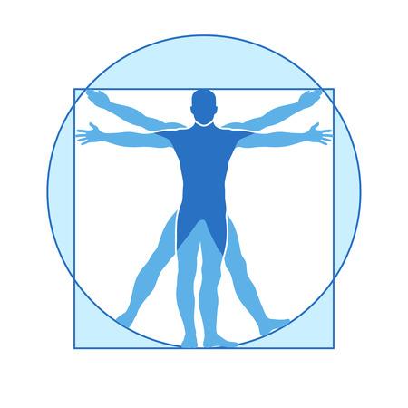 leonardo da vinci: Human body vector icon of vitruvian man. Famous leonardo da vinci image vitruvian man, classic proportion form man illustration