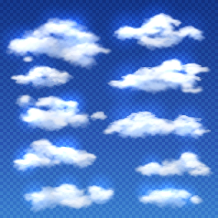 overcast: Realistic vector clouds isolated on checkered background. Set of clouds in blue sky, weather with white clouds illustration