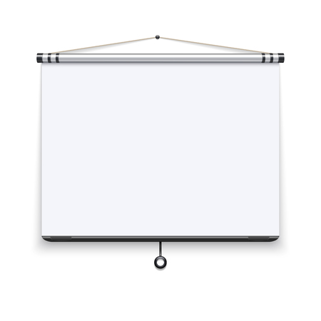 board meeting: Blank white board, meeting projector screen, presentation display vector illustration. White screen for conference, presentation projection screen film