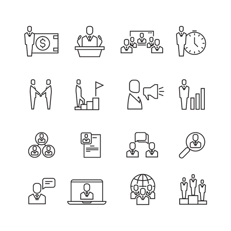 Business people team relationship, human management thin line vector icons set. Recruitment people and strategy company illustration