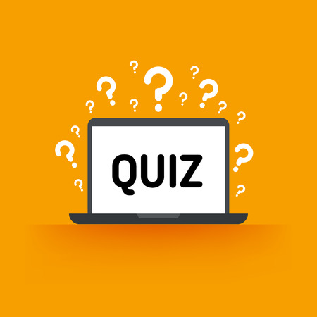 Quiz, test, survey, exam vector concept. Quiz online on laptop, vector exam for education, illustration of quiz test