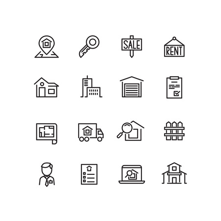 property for sale: Real estate, house, property for sale, search apartment thin line vector icons. Rent and sale house, architecture line house for sell illustration