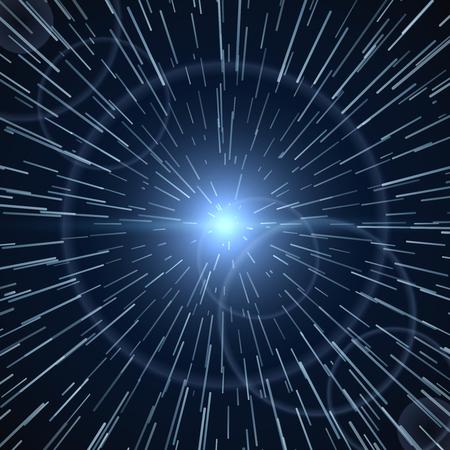 light ray: Time warp, bright light white sunburst vector illustration. Sunburst ray shine, design of sunbeam in space Illustration