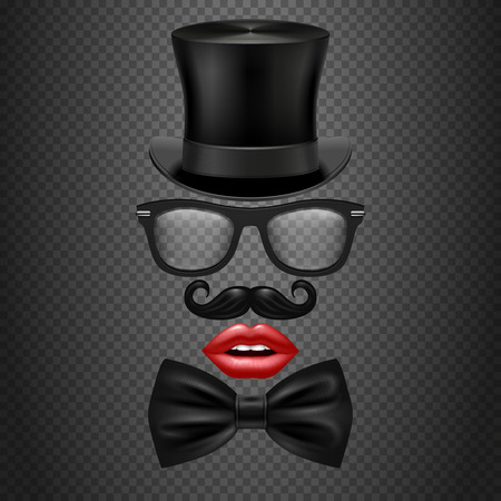 mister: Mustache, bow tie, glasses, red girl lips and cylinder hat. realistic vector hipster photo booth props. Accessory gentleman mister for photo booth illustration Illustration