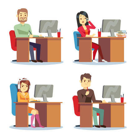 place of work: Different people characters women and men working in the office vector set. Person work in office, characters man and woman employee office illustration