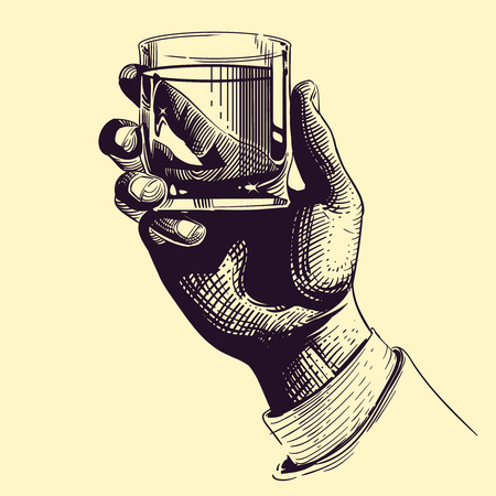 booze: Hand holding glass with strong drink. Vintage hand drawing vector illustration. Drink tequila or whiskey, beverage booze in hand