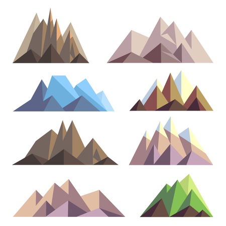 summit: Mountains in polygon origami style vector elements for landscape. Set of mountain peak, illustration of nature mountain