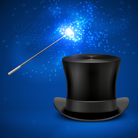 magician wand: Magic wand and vintage top hat vector entertainment christmas background. Magician wand and magic black hat illustration