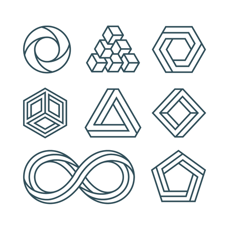 impossible: Impossible shapes thin line minimal vector icons set.