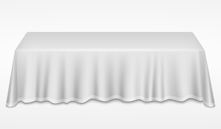 Empty dinner banquet table with white cloth 3d realistic desk vector illustration. Dinner empty table with white tablecloth Ilustracja