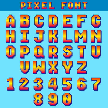 Pixel 8 bit letters and numbers vector game font, digital alphabet, typeface. Alphabet and number typeface illustration