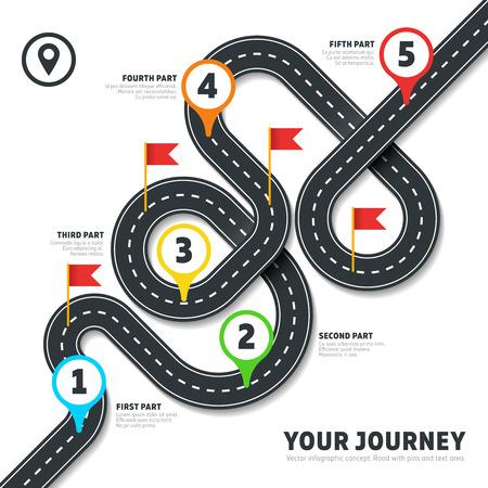Navigazione tortuosa strada vettore modo mappa infografica. Roadmap informazioni di business, road map piano per le imprese illustrazione