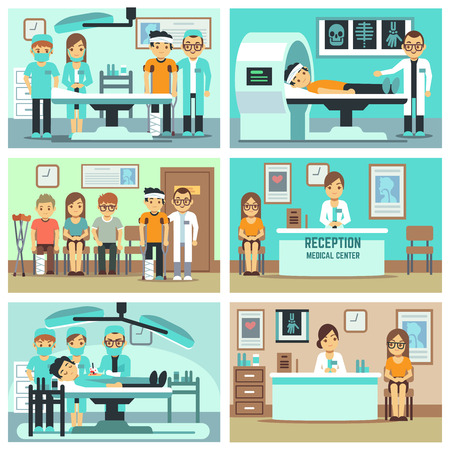 Mensen, patiënten in het ziekenhuis, medisch personeel in het kantoor, medische consultatie, behandelingen en onderzoeken vector flat concepten. Illustratie van medische verrichting illustratie