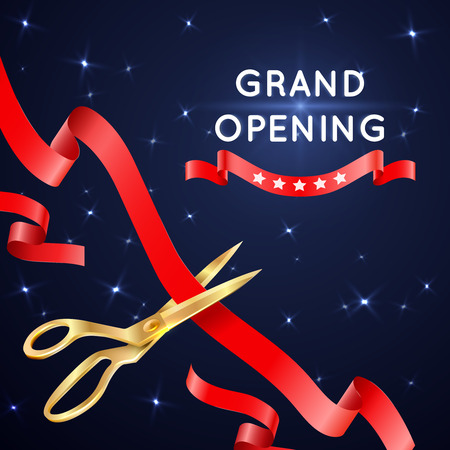 ceremonial: Ribbon cutting with scissors grand opening vector poster. Banner with cut silk ribbon, important ceremonial event with ribbon cutting illustration