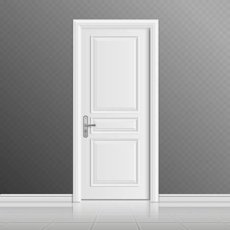 Ilustración vectorial blanco puerta de entrada cerrada. edificio entrada en la casa, la puerta interior ilustración Foto de archivo - 66410511