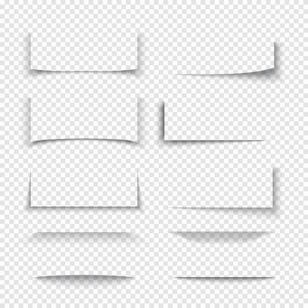 Banner, divider, website grens schaduw 3D-effecten met transparante randen. Vorm van papieren kaart, illustratie schaduw set