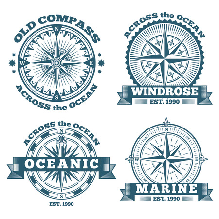 Vintage nautical labels, emblems, logo, badges with compass and ribbons. Compass navigation in ocean, emblem or logo oceanic compass illustration Vettoriali