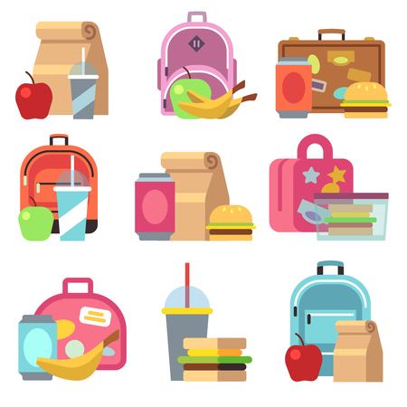 School lunch food boxes and kids bags vector flat icons. Lunch box fot lunchtime, breakfast sandwich and drink in lunchbox illustration Illustration